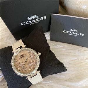 COACH Park Chalk Leather Floral Crystal Watch